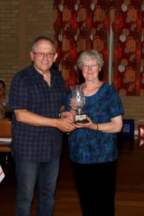 SSOS President congratulates Elaine - Winner of 2017 Lobb Trophy